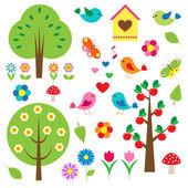 Pájaros y árboles. conjunto de vectores — Vector de stock