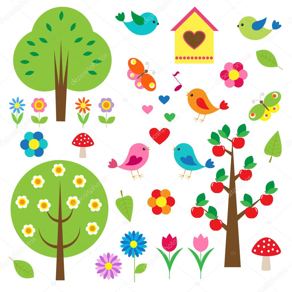 Birds and trees. Vector set — Stock Vector #10985430