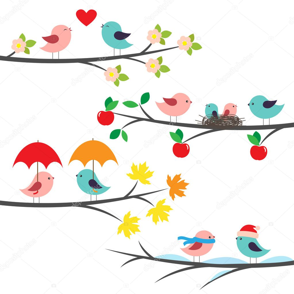 Seasonal branches and birds — Stock Vector #10985434