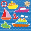 Marine transport stickers — Stock Vector