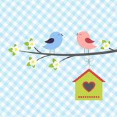 Birds sings in springtime — Stock Vector