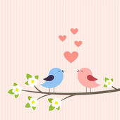Couple of birds in love — Stock Vector