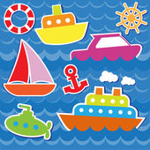 Marine transport stickers — Vettoriale Stock