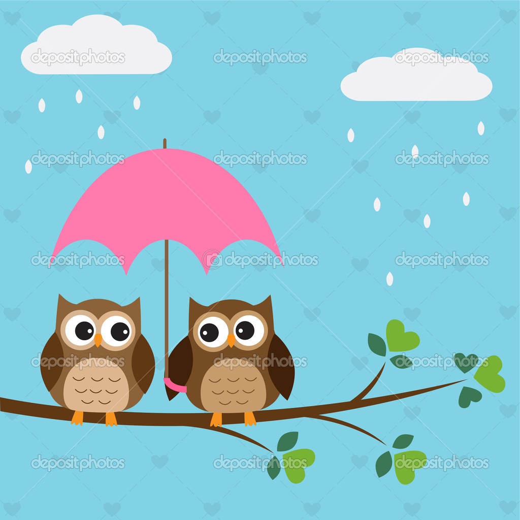 Owls couple under umbrella.Vector illustration — Stock Vector #11005208