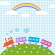 Train and rainbow — Stock Vector