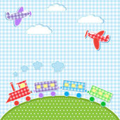 Aircrafts and train — Vector de stock