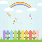Colorful dragonflies with rainbow — Stock Vector