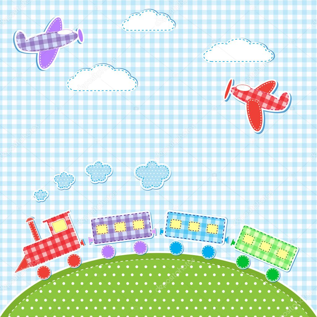 Baby background with aircrafts and train. Vector textile stikers — Stock Vector #11015755
