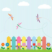 Colorful fence with flowers and dragonflies — Vector de stock