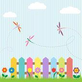 Valla de colorido con flores y libélulas — Vector de stock