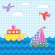 Vector de stock : Baby background with aircrafts and ships