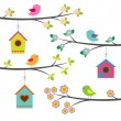 Birds and birdhouses. Vector set — Stock Vector