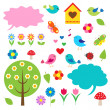 Birds,trees and bubbles for speech - Stok Vektr