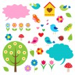 图库矢量图片: Birds,trees and bubbles for speech