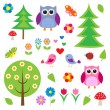 Stock Vector: Birds,tress and owls