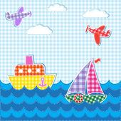 Fondo de bebé con aviones y barcos — Vector de stock