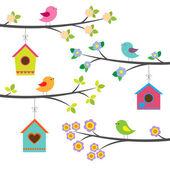 Ptáci a ptačí budky. vektorové sada — Stock vektor