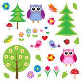Kuşlar, ağaçları ve baykuş — Stok Vektör