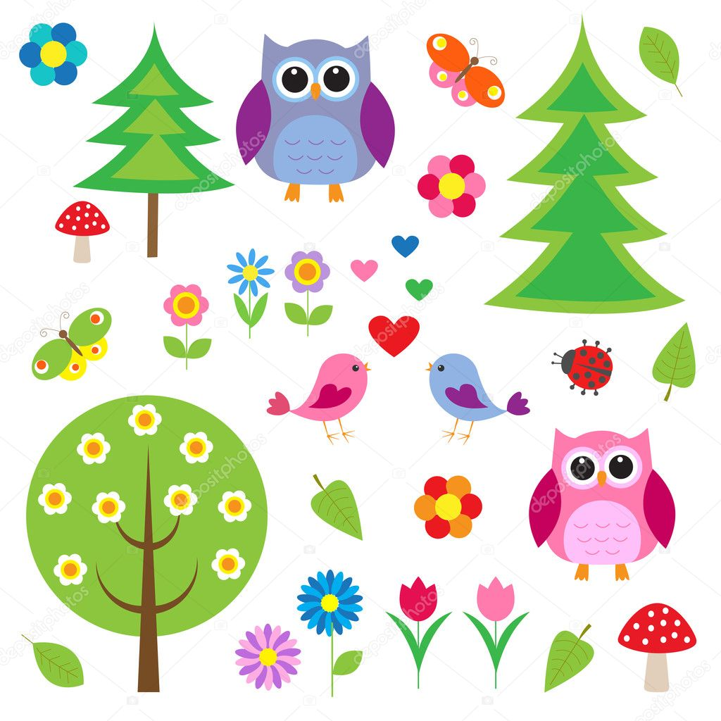 Birds,tress and owls. Vector set — Stock Vector #11165006