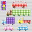 Stok Vektör: Vector set of transport textile stickers
