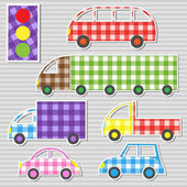 Vector set of transport textile stickers — Stockvector