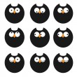 Vector de stock : Vector set of icons owls