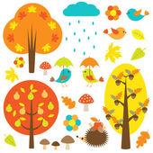 Vogels en bomen in de herfst — Stockvector