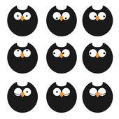 Vector conjunto de búhos de iconos — Vector de stock