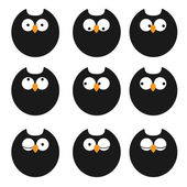 Vector set of icons owls — Stock Vector