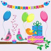 Tarjeta de cumpleaños de vector con pájaros lindos — Vector de stock
