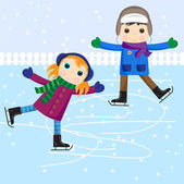 Ice skating little girl and boy — Stock Vector
