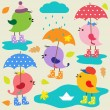 Colorful cute birds — Imagen vectorial