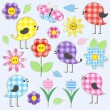 Vector de stock : Cute birds and flowers