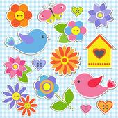 Pájaros y flores — Vector de stock