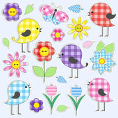Cute birds and flowers — Stock Vector