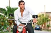 Handsome Young Man Sitting On Old Motorcycle — Stock Photo