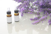 Lavender spa oil with blank ticket — Stock Photo