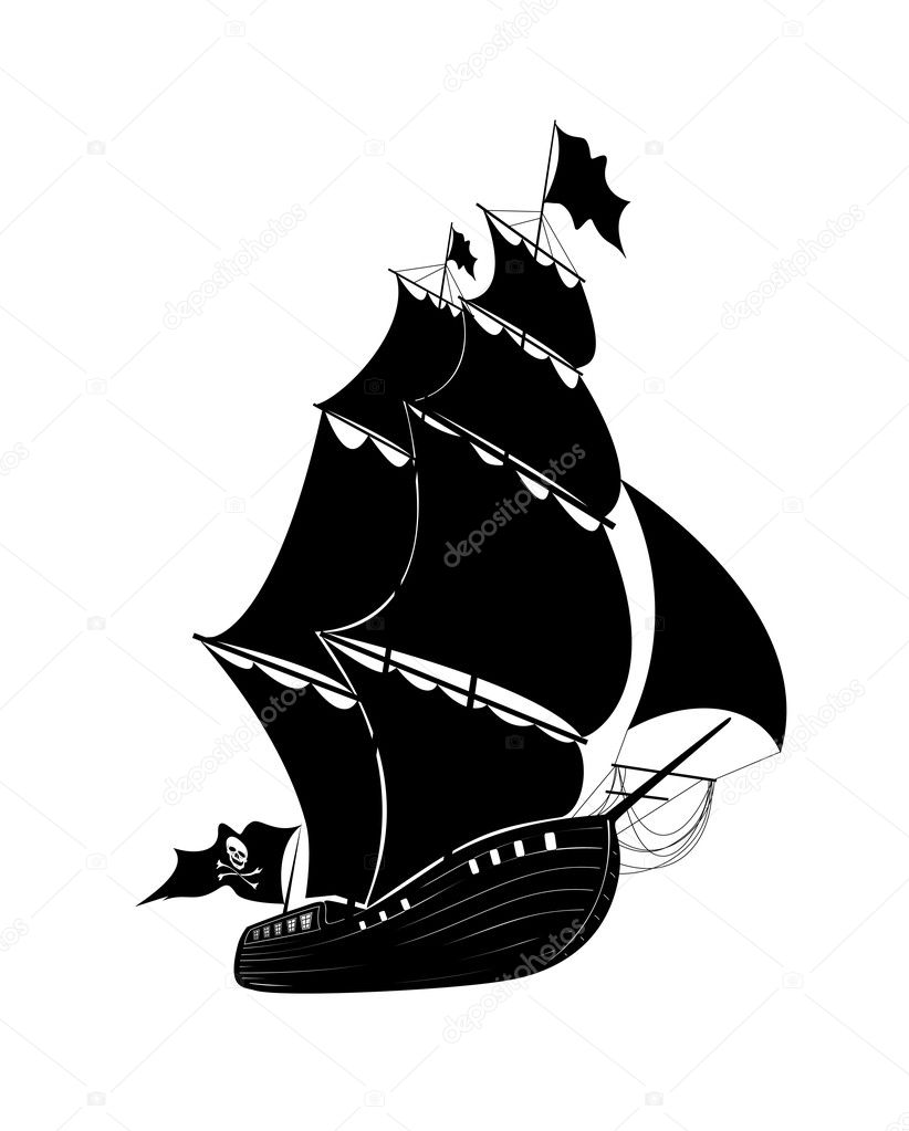 The vector drawing pirate sailing ship — Stock Vector #11361132