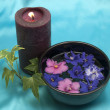 Candle and violets — Stock Photo