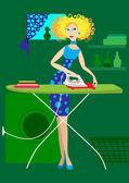 The girl irons clothes — Vector de stock
