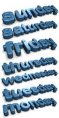 Three dimensional shiny days of the week (english) — Stock Photo