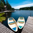 Two boats floating near pier — Stock Photo
