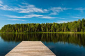 Wooden pier on lake scene — Stock Photo