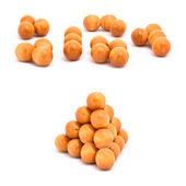 Pyramid of balls isolated on white — Stock Photo