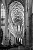 Cathedral interior in black and white — Stock Photo