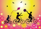 Sports family on bicycles — Stock Vector