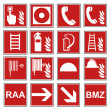 Постер, плакат: Fire safety sign fire fire warning sign set