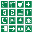 Royalty-Free Stock Vector Image: Rescue signs icon exit emergency set