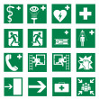 Rescue signs icon exit emergency set - Stock Vector