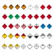 Hazardous substances signs icon flammable skull radioactive set - Imagen vectorial